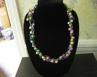 "Hand ""crocheted"" 26 inch necklace  OOAK"