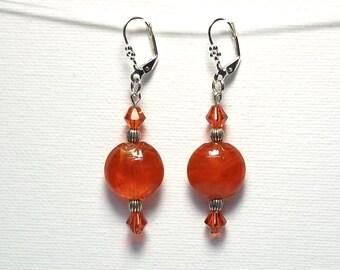 Red Earrings Red Glass Bead Earrings Crystal Earrings Drop Earrings Dangle Earrings