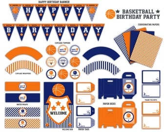 Basketball Birthday Party Printable Package  - Instant Download