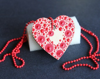 Red Dotty Heart Shaped Necklace by Dizzysdots