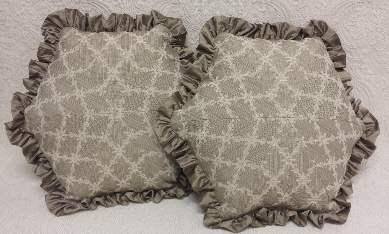 Throw Pillows Ruffle : Treillis Throw Pillow with Silk Ruffle: taupe beige