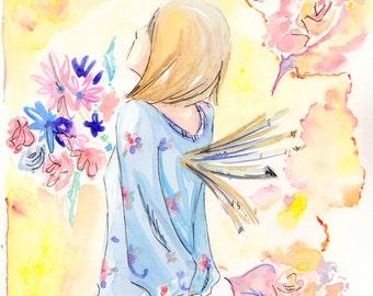 Peaceful Flower Girl Watercolor Painting Original