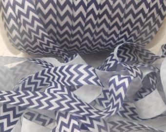 Navy/White Chevron  Printed Fold Over Elastic  - FOE - 5/8 Fold Over Elastic -Headband elastic, satin elastic, wholesale elastic