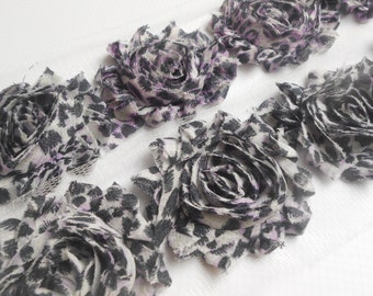 Violet Leopard Shabby Rose Trim in 1/2 yard and 1 Yard, Flower Rose Trim, Chiffon Flower, Shabby Chic, Headband Flower, Wholesale
