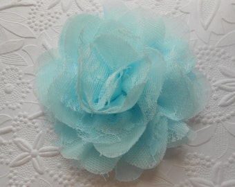 "Chiffon Lace flower ,aqua color, approx. 3.75""   in diameter , use in DIY craft for baby,children accessories,JULONGSASI"