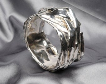 925 Sterling Silver Electroform Bracelet - wide silver bangle