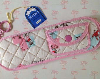 1980s Joy Soft quilted fabric pencil case - made in Japan. Super kawaii!