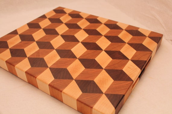 3d Tumbling Block Wood End Grain Cutting Board Butcher Block