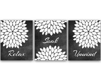 Relax Soak Unwind, Bathroom Wall Art, Bathroom CANVAS, Bathroom Chalkboard Art, Modern Bathroom Art, Set of 3 Bath Art Prints - BATH12