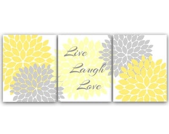 Home Decor CANVAS Wall Art, Live Laugh Love, Yellow Gray Wall Art PRINTS, Flower Burst Bathroom Wall Decor, Yellow Bedroom Decor - HOME29