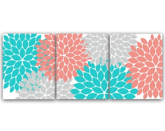 Home Decor CANVAS Or Wall Art PRINTS, Coral And Teal Flower Burst Art,  Bathroom