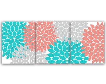 Home Decor CANVAS or Wall Art PRINTS, Coral and Teal Flower Burst Art, Bathroom Wall Decor, Coral Bedroom Decor, Nursery Wall Art - HOME58