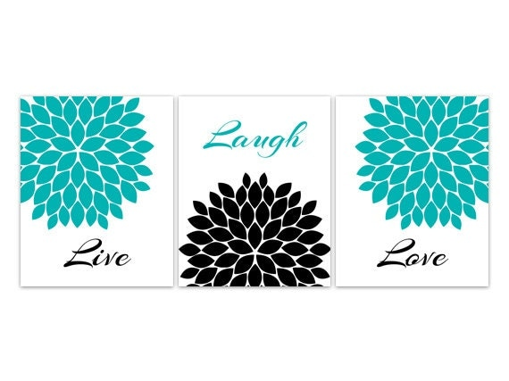 Home Decor Wall Art Live Laugh Love Canvas Turquoise Wall Art Flower Burst