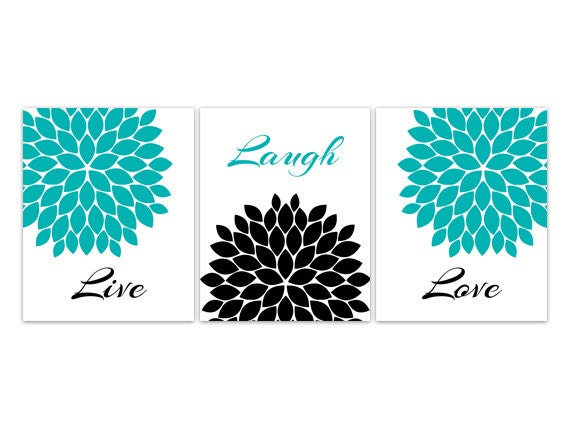 Aqua Wall Decor home decor wall art live laugh love canvas turquoise wall