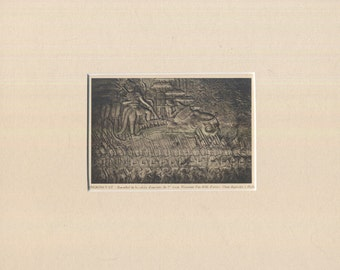 Angkor Wat, Cambodia - Sculptural relief - Antique Postcard in new mat.