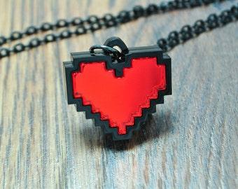 Shiny 8 Bit Pixel Pixelated Heart Pendant Necklace