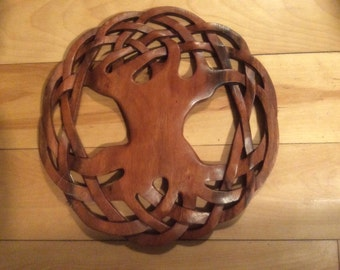 Tree of life Celtic wood carving