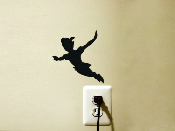 peter pan velvet silhouette wall sticker kids room wall art happiness velvet wall stickers decorazioni adesive