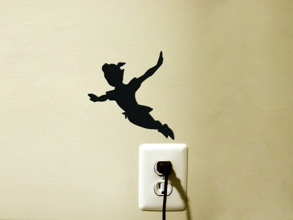 peter pan velvet silhouette wall sticker kids room wall art