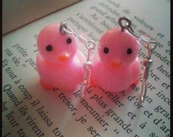 Pink Duck Earrings