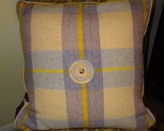 Up-cycled Welsh Wool Blanket Zipped & Piped Cushion with Flower Detail