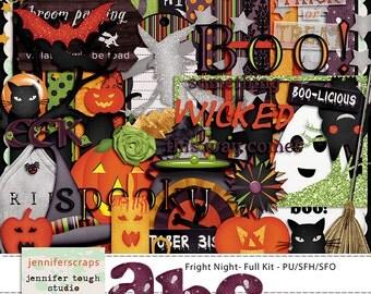 Instant Download - Fright Night Full Digital Scrapbooking kit for Halloween