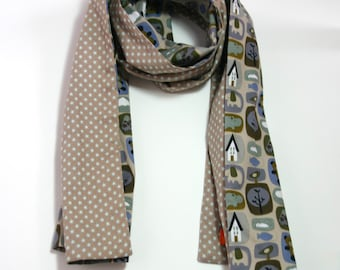 Cheche/scarf/scarf printed baby blue beige khaki and stars