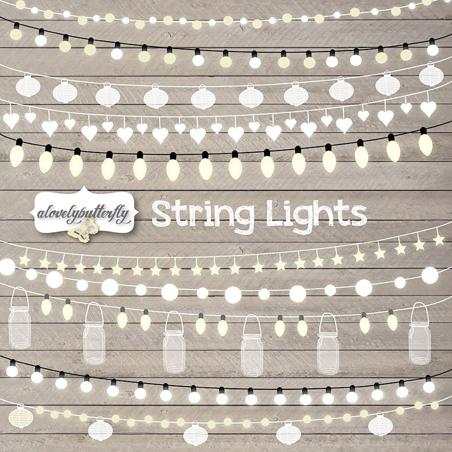 String Lights Border : String Lights Clipart wedding invitation by alovelybutterfly
