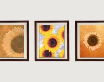 Sunflowers Flower Set Of 3 Prints INSTANT DOWNLOAD Art Print Old Antique  Vintage Printable Bathroom Bedroom