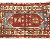 Hand knotted wool vintage Turkish Oushak area rug