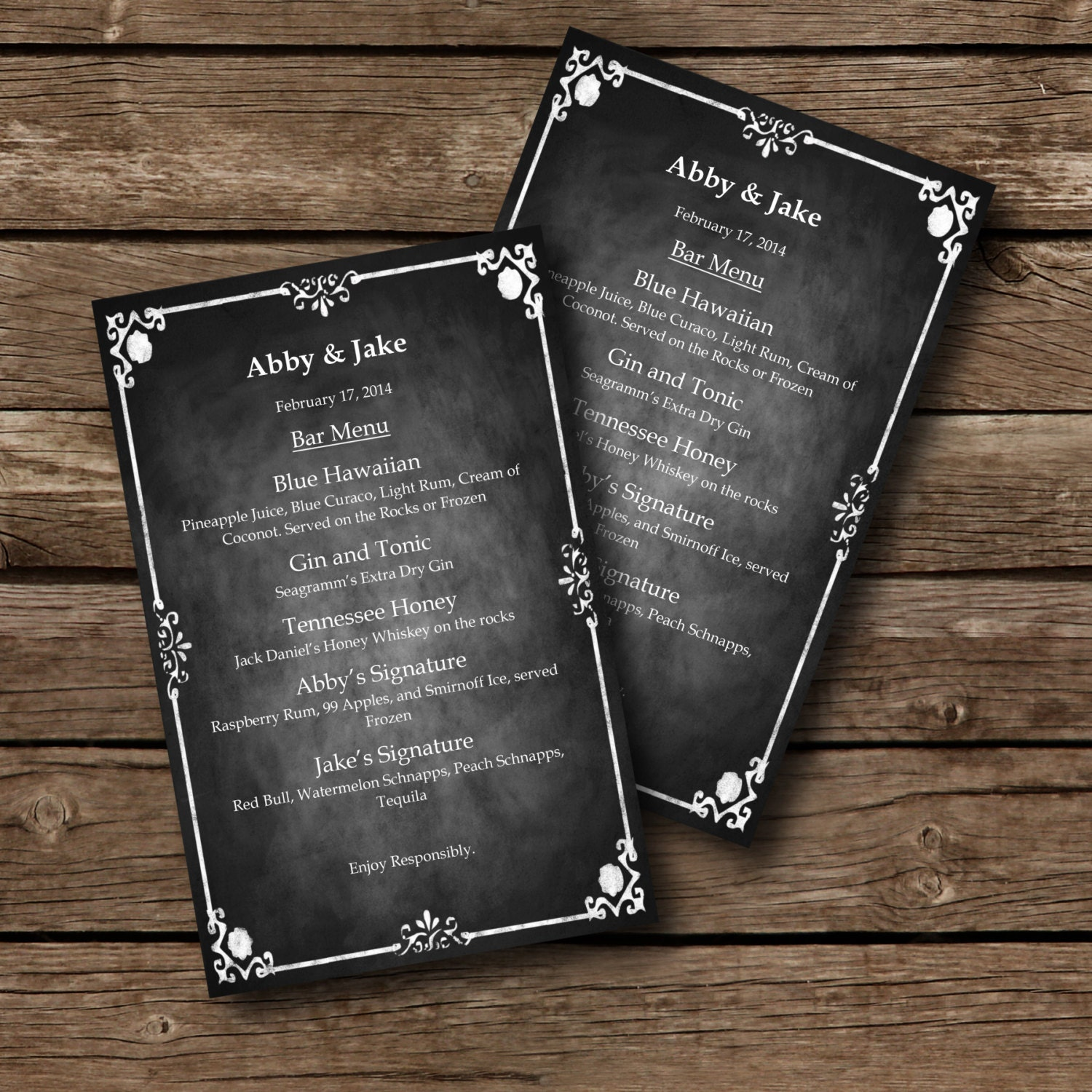 Editable MENU Template Chalkboard Style Word Document