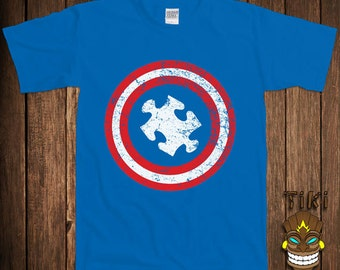 Funny Autism Awareness T-shirt Autistic Tshirt Tee Shirt Captain Autism Support Puzzle Piece Spectrum