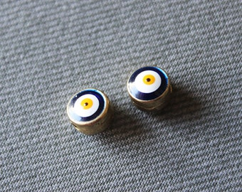 5 Gold Plated Evil Eye Beads - Evil Eye Jewelry, Protection Bead, Protection Jewelry