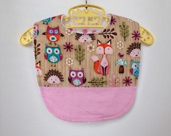 Big bib for kids, owl and fox fabric, 25 % off