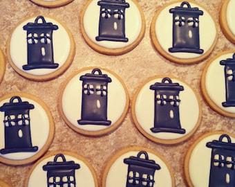 Dr. Who Tardis Sugar Cookies: 1 Dozen
