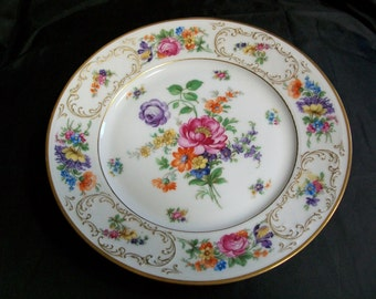 """TIRSCHENREUTH BAVARIA Dresden flowers 4326 Breakfast plate 8-1/2 """" gilded"""