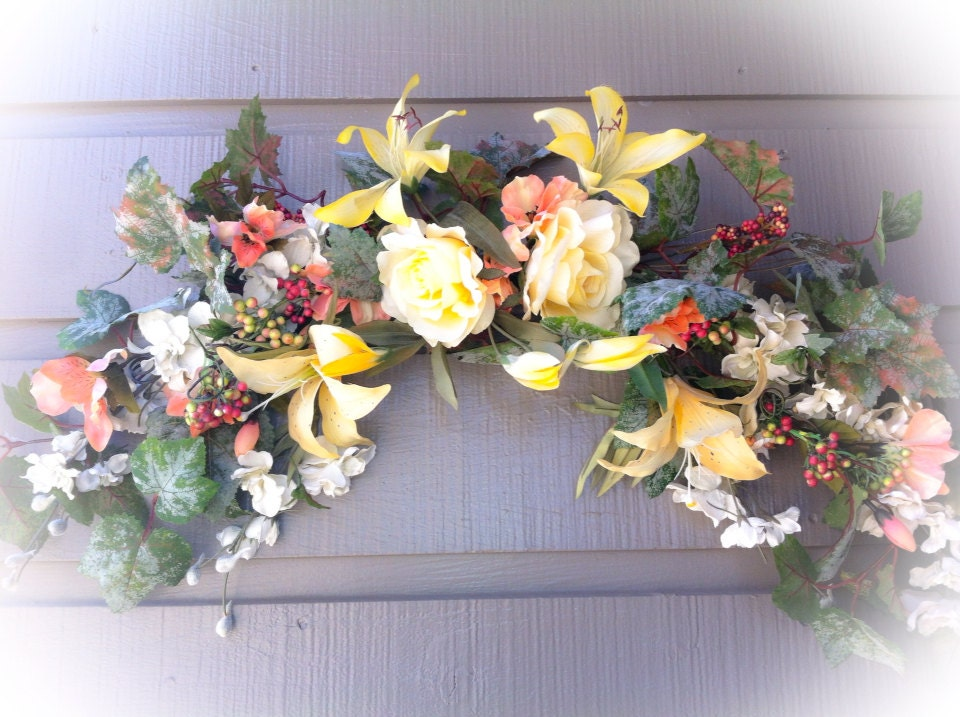 Silk Flower Arrangement Yellow Floral Swag Wall Decor In