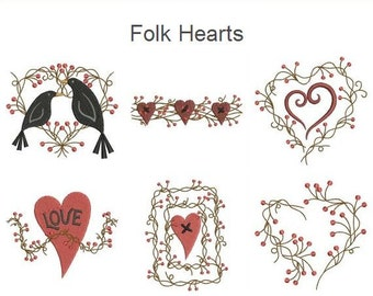 Folk Hearts Vines Love Machine Embroidery Designs Instant Download 4x4 hoop 10 designs APE1655