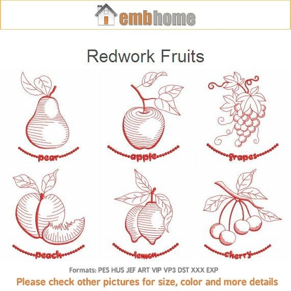 Items Similar To Redwork Fruits Food Kitchen Machine Embroidery Designs Pack Instant Download