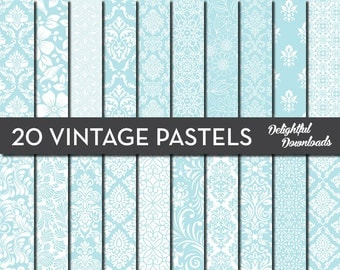 "Teal Floral Digital Paper ""20 VINTAGE PASTEL TEALS"" with 20 teal floral damask digital papers for scrapbooking, cards, prints."