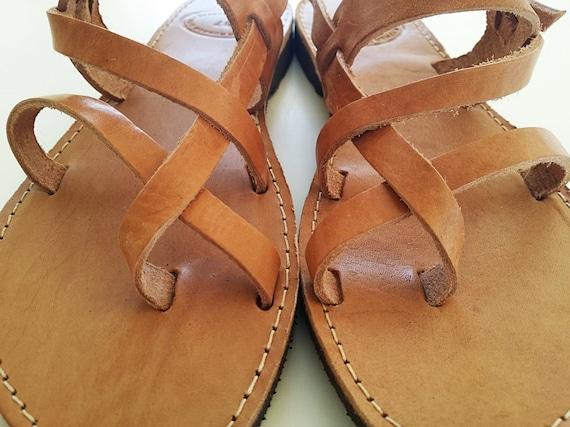 Men Sandals Ancient Greek Sandals In Brown Natural Leather