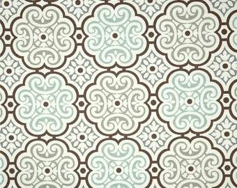 aqua grey brown mosaic home decor fabric by the yard designer drapery or upholstery - Home Decor Fabric