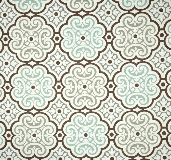 Aqua Grey Brown Mosaic Home Decor Fabric By The Yard Designer Drapery Or Upholstery