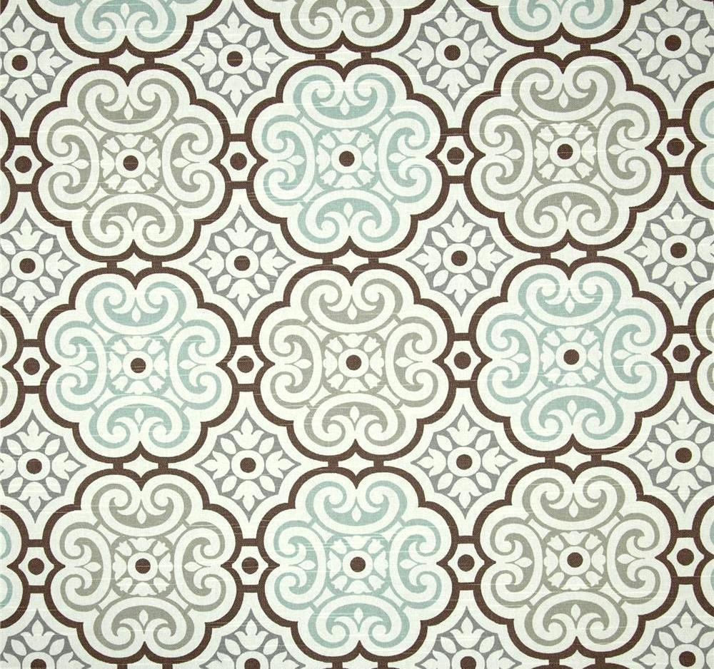 aqua grey brown mosaic home decor fabric by the yard