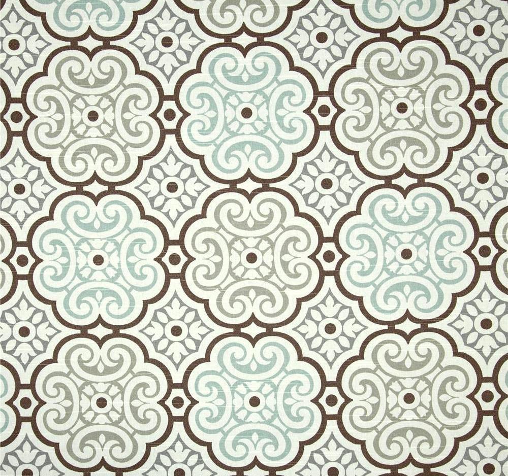 Coastal cottage fabric aqua blue grey brown fabric by for Home decor fabric
