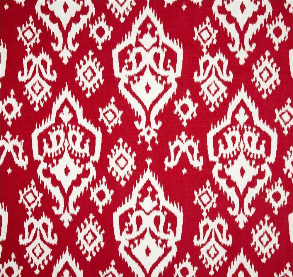 boho red ikat home decor fabric by the yard by cottoncircle