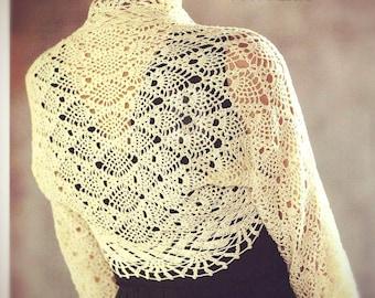 PATTERN collar crochet necklace  shirt  bolero romantic shrug longsleeves bride wedding