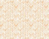 Fitted Crib Sheet in orange herringbone