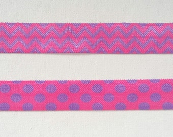 Purple and pink chevron or polka dot  foe printed fold over elastic 5 yards