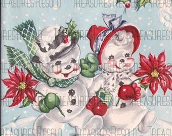 Snowman Couple Christmas Card #87 Digital Download